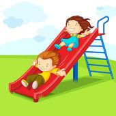 Kids on Slide — Stock Vector