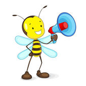 Bee announcing in Megaphone — Stock Vector