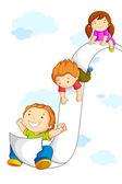 Kinderen glijden op papier — Stockvector