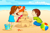 Kids making Sand Castle — Stock Vector