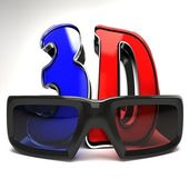 3D Glasses with Text — Stock Photo