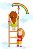 Niños pintar arco iris — Vector de stock