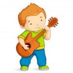 Kid playing Guitar — Stock Vector
