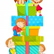 Stock Vector: Kids climbing Gift Box