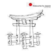 Miyajima monument of Japan — Stock Vector