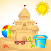 Sand Castle with Sandpit Kit — Stock Vector