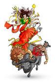 杜尔加女神 — 图库矢量图片