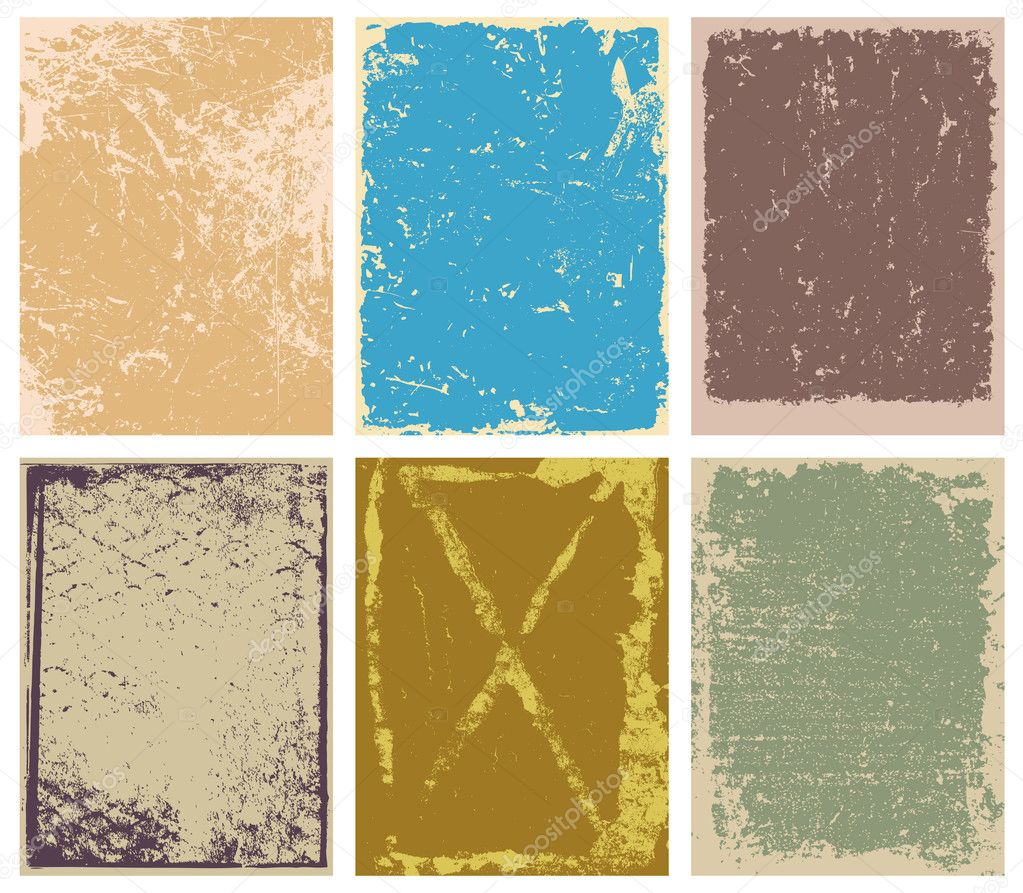 Set of vector grunge backgrounds, frames and borders — Stock Vector #10977370