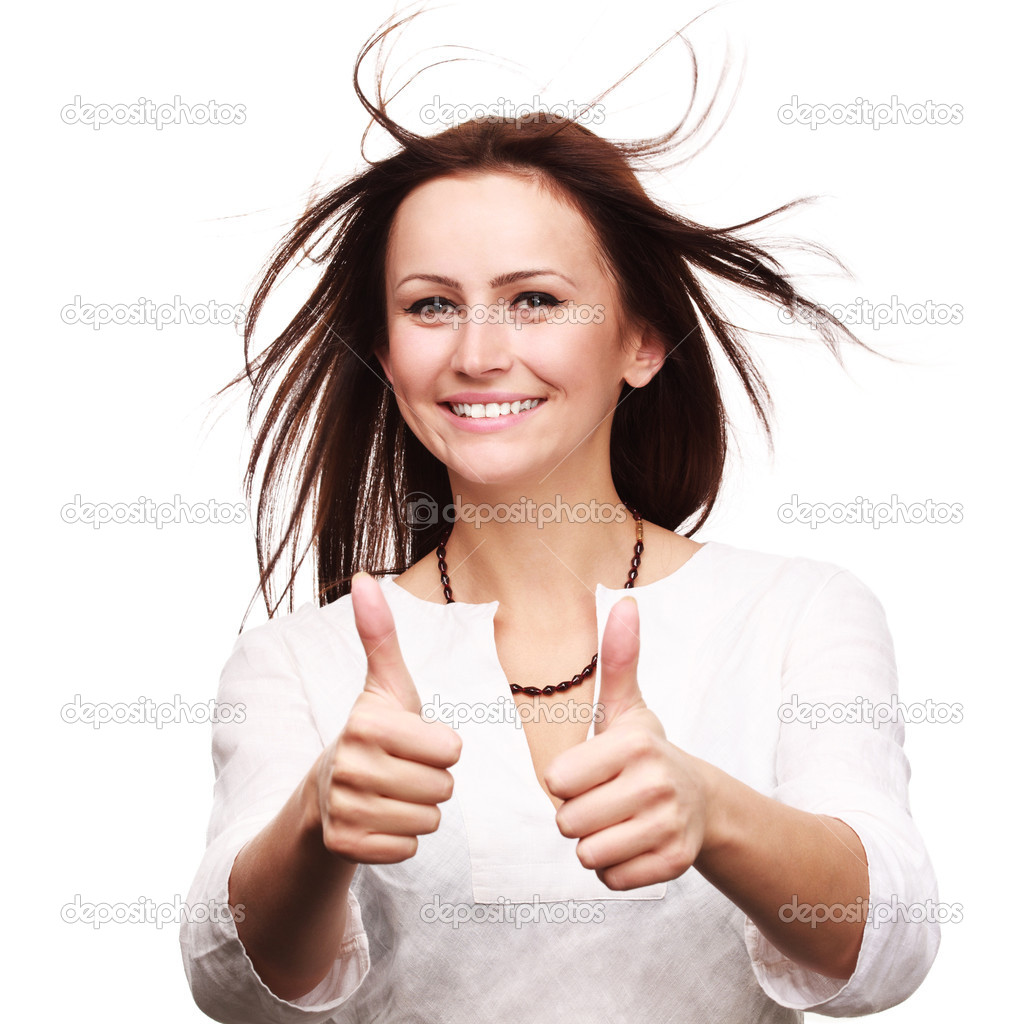 Happy smiling businesswoman with thumbs up gesture, isolated on white background  Stock Photo #11305912