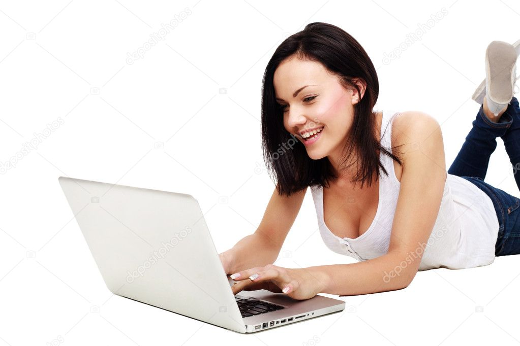 Portrait of beautiful woman with a laptop isolated over a white background  Stock Photo #11306229