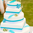 Blue-white wedding cake - Stock Photo