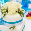 Detail of blue-white wedding cake - Stock Photo