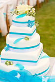 Blue-white wedding cake — Stock Photo