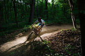 Man bikes in the forest — Stock Photo