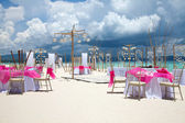 Beach wedding setup — Stock Photo