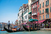 Gondola with tourists in Grand Canal — Stock Photo