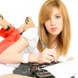 Young student with hold typewriter - Stock Photo