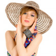 Woman in Bikini with hat — Stock Photo