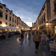 Old street and cafes at night in Dubrovnik — Stock Photo