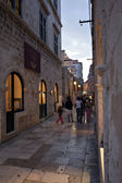 Old road in Dubrovnik at dusk — Stock Photo