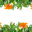 Stock Photo: Bright Tagetes flowers frame