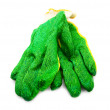 Green, working gloves. On a white background. — Stock Photo