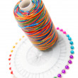 Stock Photo: Threads and needles. On white background.