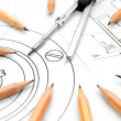 Compasses and pencils on the drawing. — Stock Photo