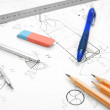 The writing goods and the drawing. — Stock Photo