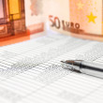 Documents, money and pen. — Stock Photo