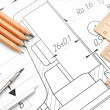 Pencils, ruler and compasses on the drawing. — Stock Photo #10786992