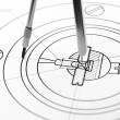 The drawing and compasses. — Stock Photo