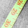 Measuring roulette on a fabric. - Stock Photo