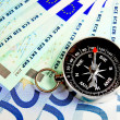 Compass and money. - Stock Photo