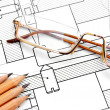The drawing, pencils and glasses. — Stock Photo #10789802