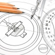 The drawing, pencils, ruler and compasses. — Stockfoto