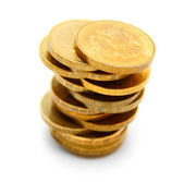 Gold coins. On a white background. — Stock Photo