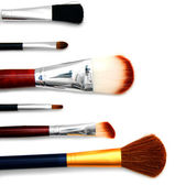 Cosmetic brushes. On a white background. — Stock Photo