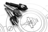 Drills and the drawing. — Stock Photo