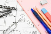 The drawing, compasses, drills and a stationery. — Stock Photo