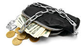 Money, coins and a purse with a chain. — Stock Photo