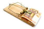 Mousetrap and money on a white background. — Stock Photo
