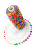 Threads and needles. On a white background. — Stock Photo