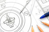 The drawing, pencils and compasses. — Stockfoto