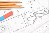 The drawing and pencils. — Stockfoto