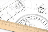 The drawing and rulers. — Stock Photo