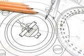 The drawing, pencils, ruler and compasses. — Stock Photo