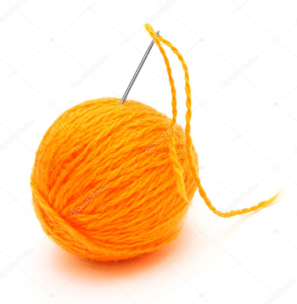 Needle and wool ball. On a white background. — Stock Photo #10788757