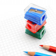 Sharpeners and pencils on a white background. — Lizenzfreies Foto