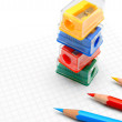Sharpeners and pencils on a white background. — Stockfoto